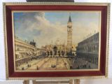 Cushion Framed Canaletto Style Italian Street Scene